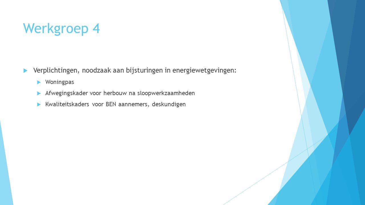 Werkgroep 4  Verplichtingen, noodzaak aan bijsturingen in energiewetgevingen:  Woningpas  Afwegingskader voor herbouw na sloopwerkzaamheden  Kwali