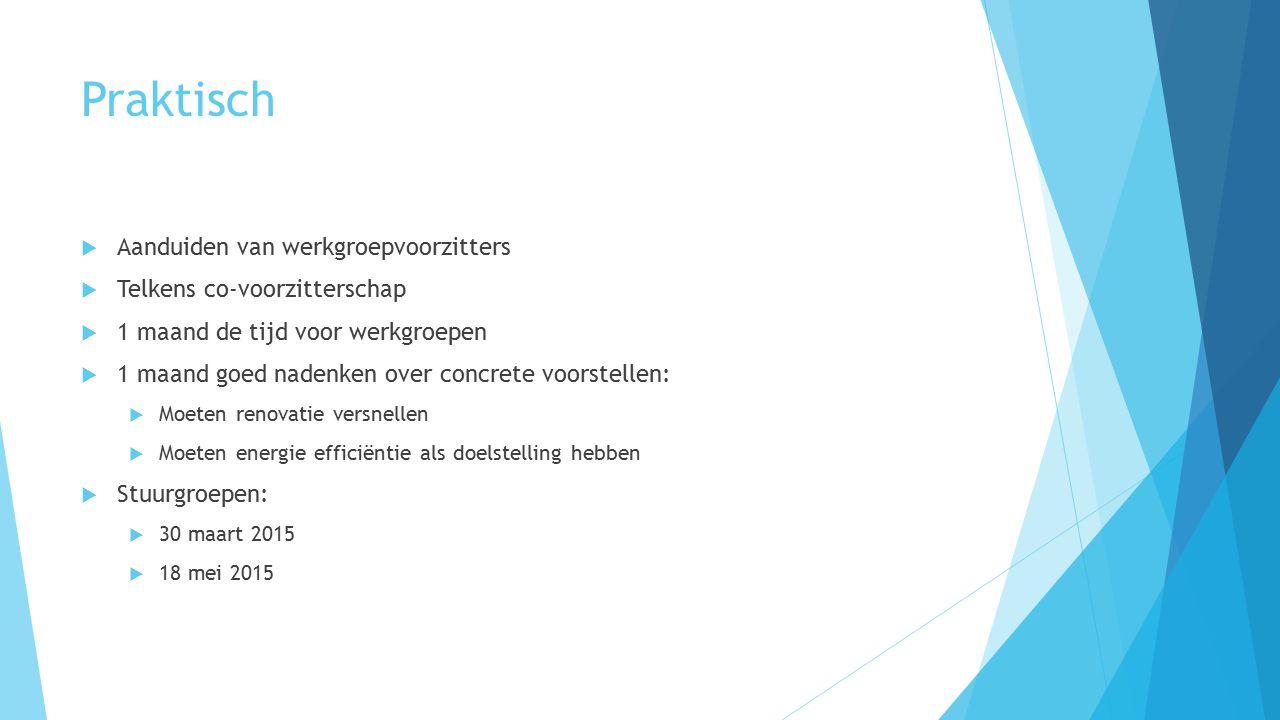 Praktisch  Aanduiden van werkgroepvoorzitters  Telkens co-voorzitterschap  1 maand de tijd voor werkgroepen  1 maand goed nadenken over concrete voorstellen:  Moeten renovatie versnellen  Moeten energie efficiëntie als doelstelling hebben  Stuurgroepen:  30 maart 2015  18 mei 2015