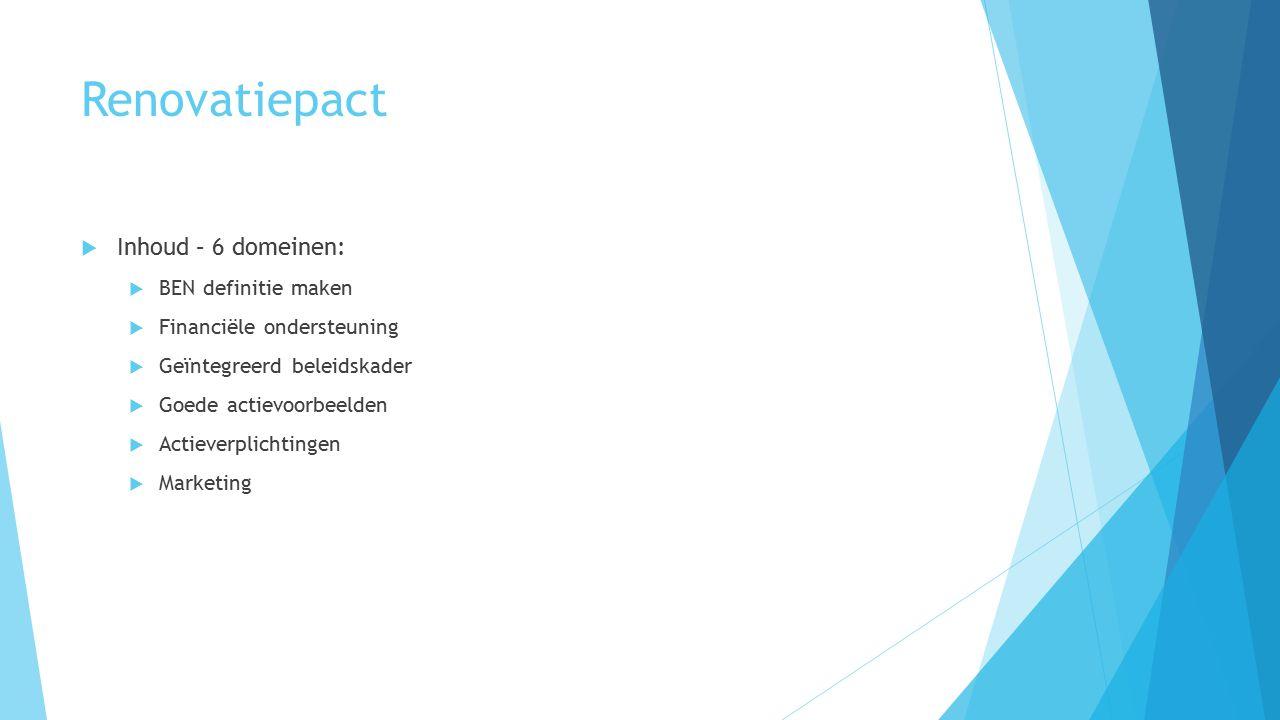 Renovatiepact  Inhoud – 6 domeinen:  BEN definitie maken  Financiële ondersteuning  Geïntegreerd beleidskader  Goede actievoorbeelden  Actieverplichtingen  Marketing