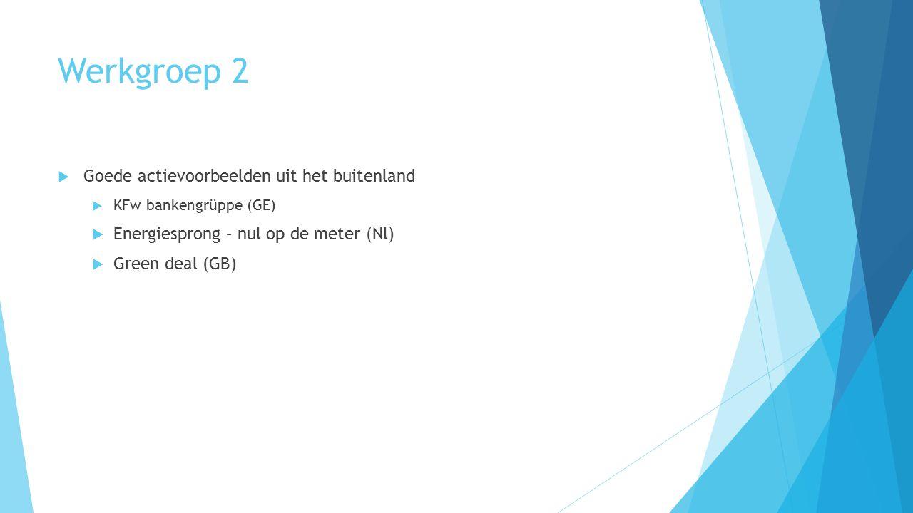 Werkgroep 2  Goede actievoorbeelden uit het buitenland  KFw bankengrüppe (GE)  Energiesprong – nul op de meter (Nl)  Green deal (GB)