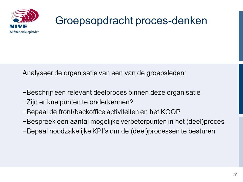 26 Analyseer de organisatie van een van de groepsleden: −Beschrijf een relevant deelproces binnen deze organisatie −Zijn er knelpunten te onderkennen.
