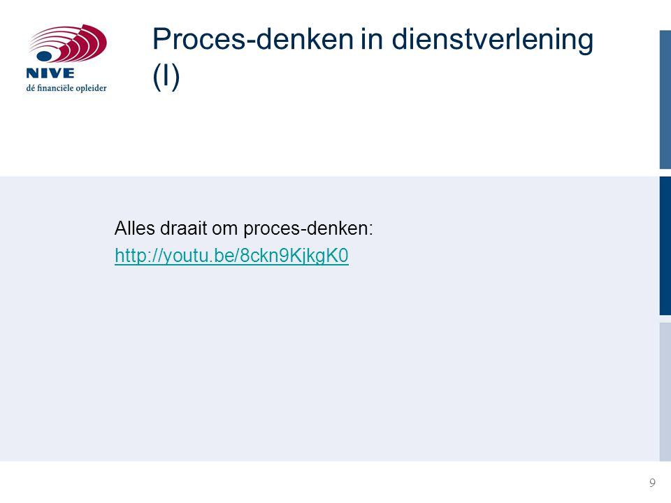 10 Proces-denken in dienstverlening (II) −Alles draait om proces-denken, processen zijn overal −Processen belangrijk bij producten én diensten −Als je niet weet wat je proces is, weet je niet wat je aan het doen bent −Basis: Input - Proces – Output Het meten van efficiency en effectiviteit van het procesresultaat is zéér belangrijk voor de controller .