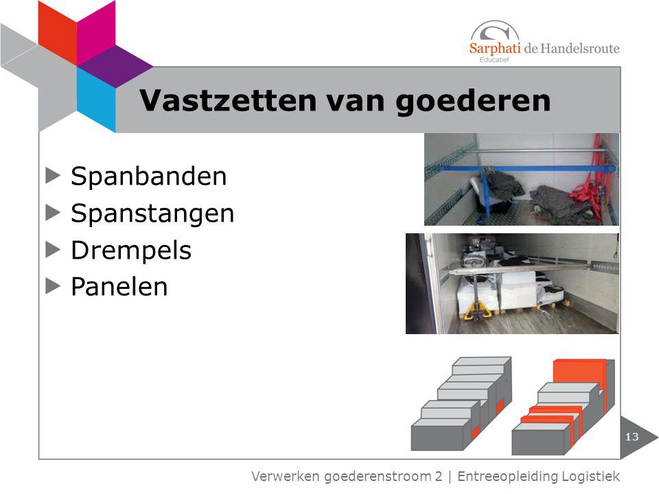 Spanbanden Spanstangen Drempels Panelen 13 Verwerken goederenstroom 2 | Entreeopleiding Logistiek Vastzetten van goederen
