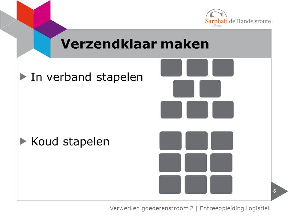 In verband stapelen Koud stapelen 6 Verwerken goederenstroom 2 | Entreeopleiding Logistiek Verzendklaar maken