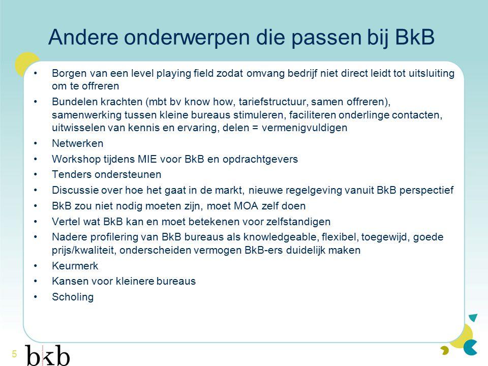 5 Andere onderwerpen die passen bij BkB Borgen van een level playing field zodat omvang bedrijf niet direct leidt tot uitsluiting om te offreren Bunde