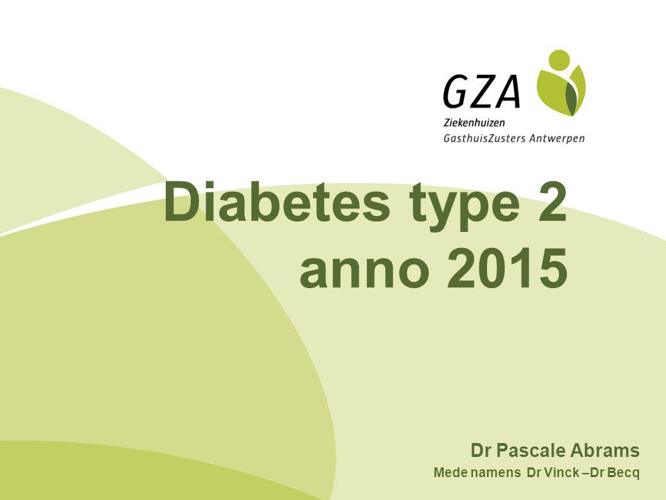 Diabetes type 2 anno 2015 Dr Pascale Abrams Mede namens Dr Vinck –Dr Becq