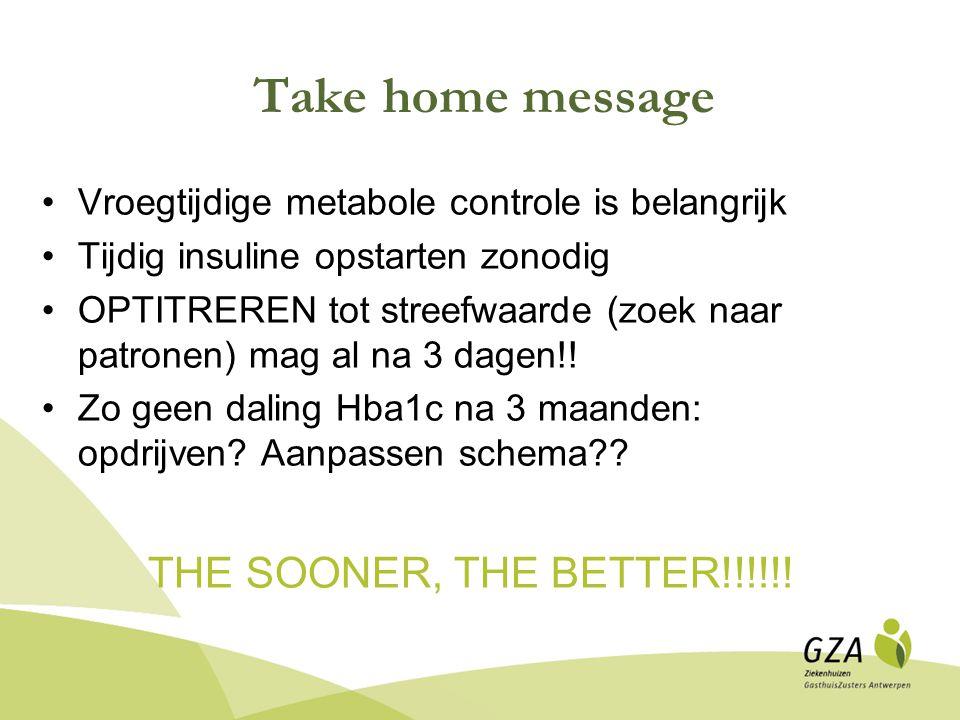 Take home message Vroegtijdige metabole controle is belangrijk Tijdig insuline opstarten zonodig OPTITREREN tot streefwaarde (zoek naar patronen) mag al na 3 dagen!.
