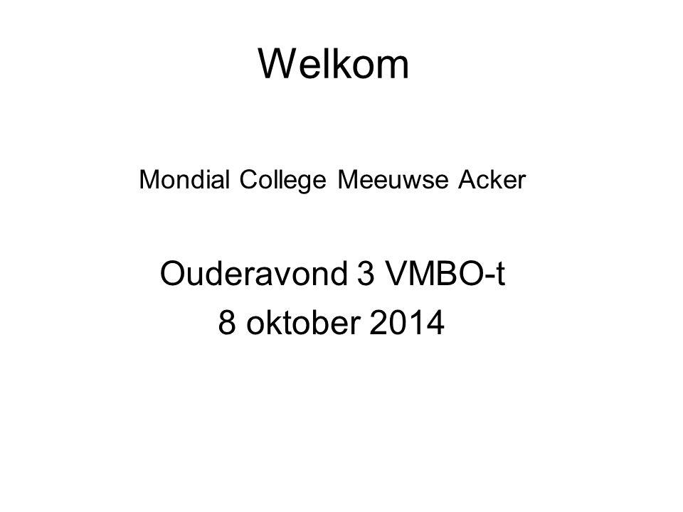 Welkom Mondial College Meeuwse Acker Ouderavond 3 VMBO-t 8 oktober 2014