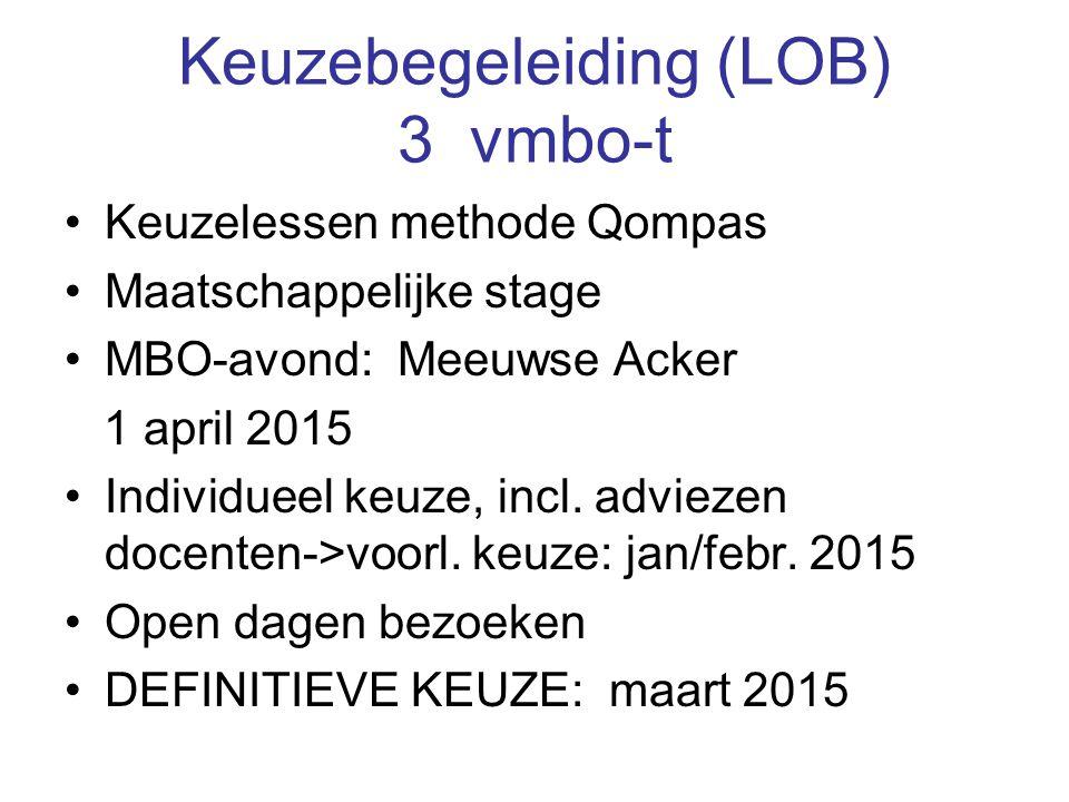 Keuzebegeleiding (LOB) 3 vmbo-t Keuzelessen methode Qompas Maatschappelijke stage MBO-avond: Meeuwse Acker 1 april 2015 Individueel keuze, incl. advie