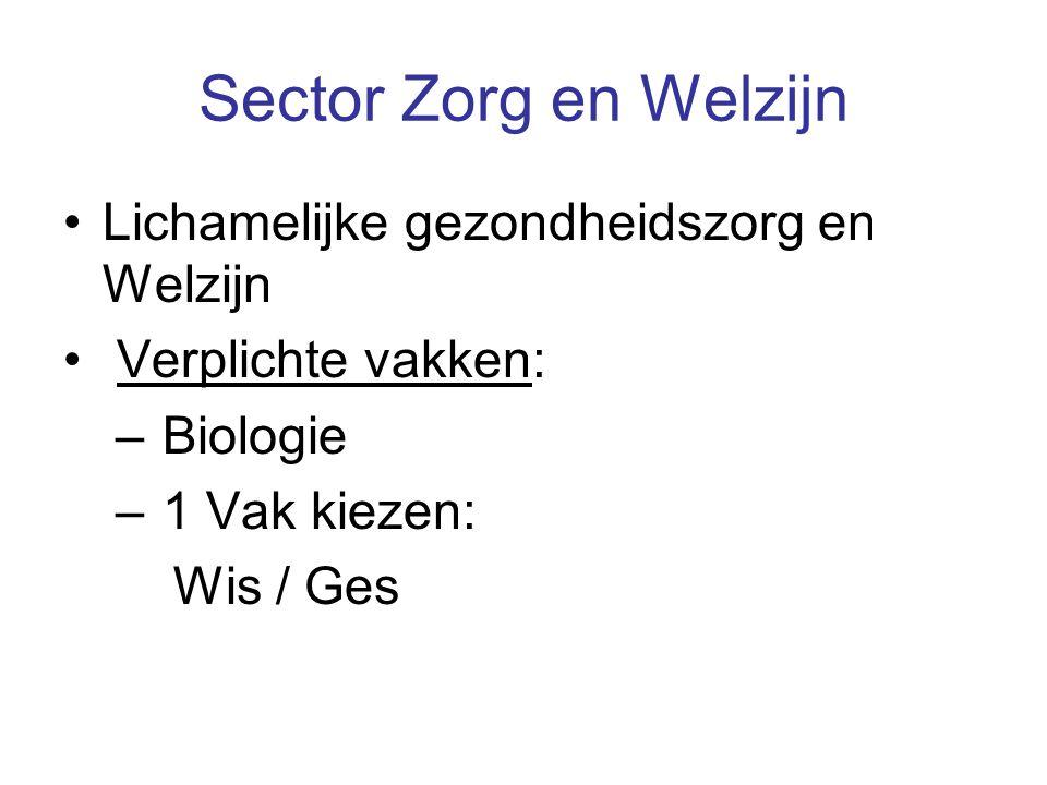 Sector Zorg en Welzijn Lichamelijke gezondheidszorg en Welzijn Verplichte vakken: – Biologie – 1 Vak kiezen: Wis / Ges