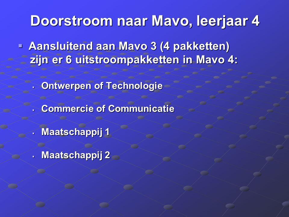 Doorstroom naar Mavo, leerjaar 4  Aansluitend aan Mavo 3 (4 pakketten) zijn er 6 uitstroompakketten in Mavo 4: zijn er 6 uitstroompakketten in Mavo 4