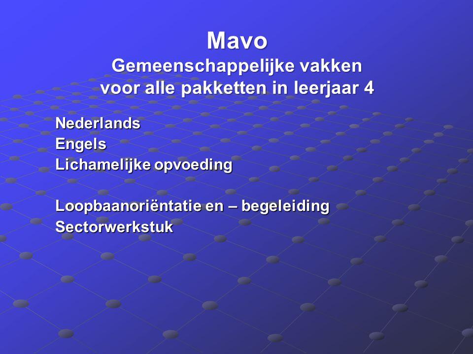 Mavo Gemeenschappelijke vakken voor alle pakketten in leerjaar 4 NederlandsEngels Lichamelijke opvoeding Loopbaanoriëntatie en – begeleiding Sectorwer
