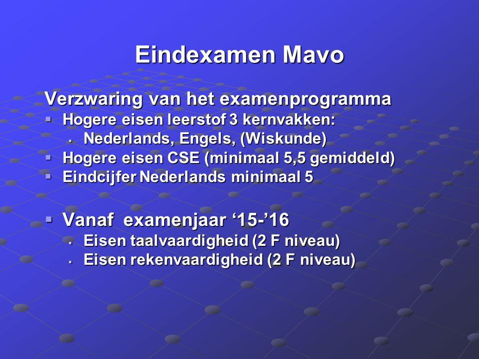 Eindexamen Mavo Verzwaring van het examenprogramma  Hogere eisen leerstof 3 kernvakken:  Nederlands, Engels, (Wiskunde)  Hogere eisen CSE (minimaal