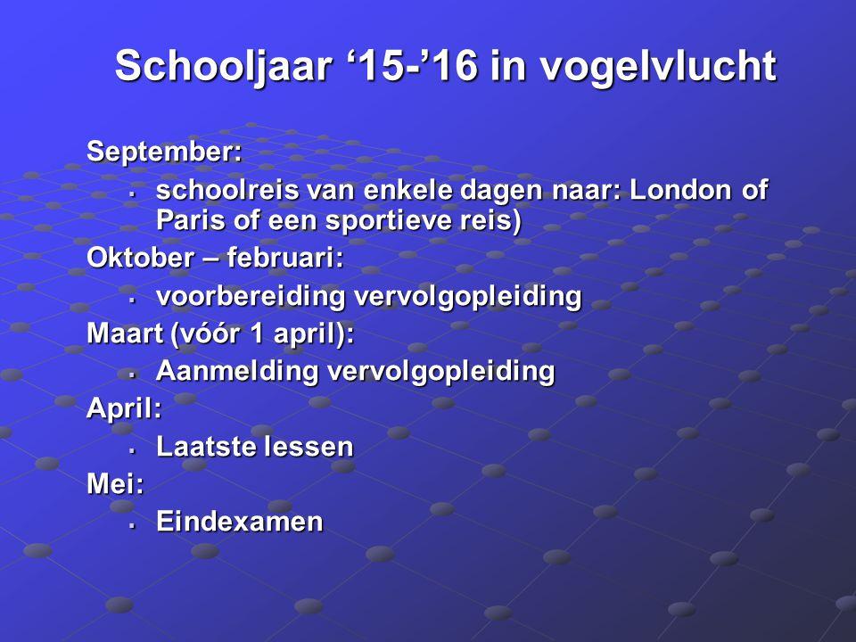 Schooljaar '15-'16 in vogelvlucht September:  schoolreis van enkele dagen naar: London of Paris of een sportieve reis) Oktober – februari:  voorbere