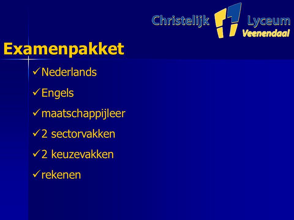 ExamenpakketExamenpakket Nederlands Engels maatschappijleer 2 sectorvakken 2 keuzevakken rekenen
