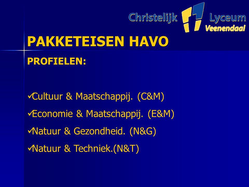 PAKKETEISEN HAVO PAKKETEISEN HAVO PROFIELEN: Cultuur & Maatschappij.