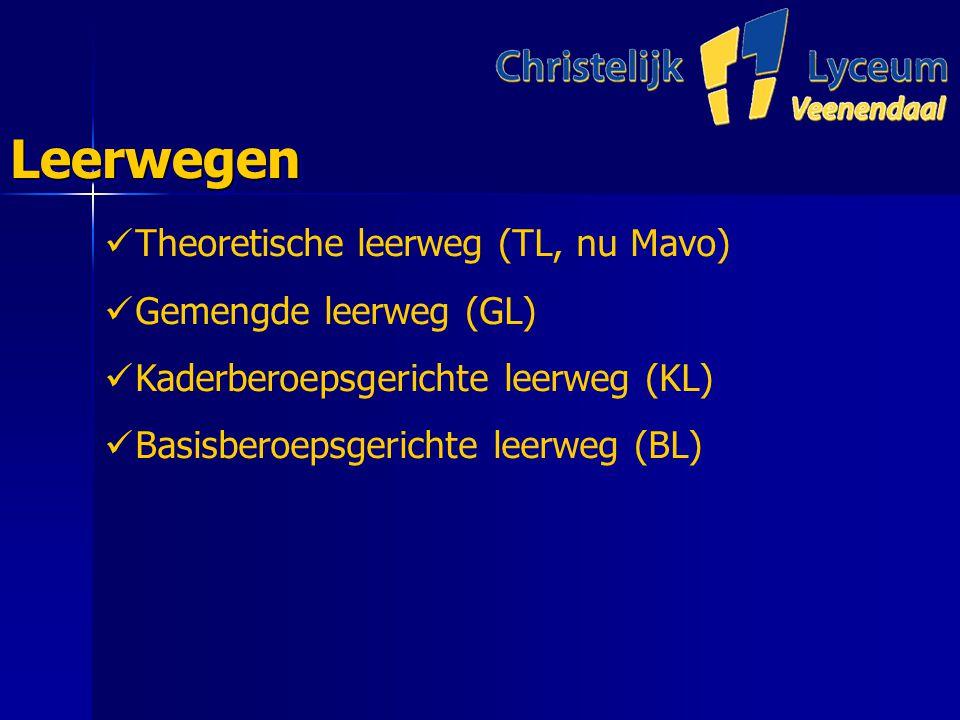 LeerwegenLeerwegen Theoretische leerweg (TL, nu Mavo) Gemengde leerweg (GL) Kaderberoepsgerichte leerweg (KL) Basisberoepsgerichte leerweg (BL)