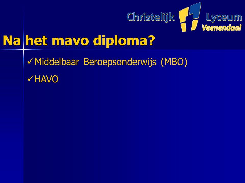 Na het mavo diploma Middelbaar Beroepsonderwijs (MBO) HAVO