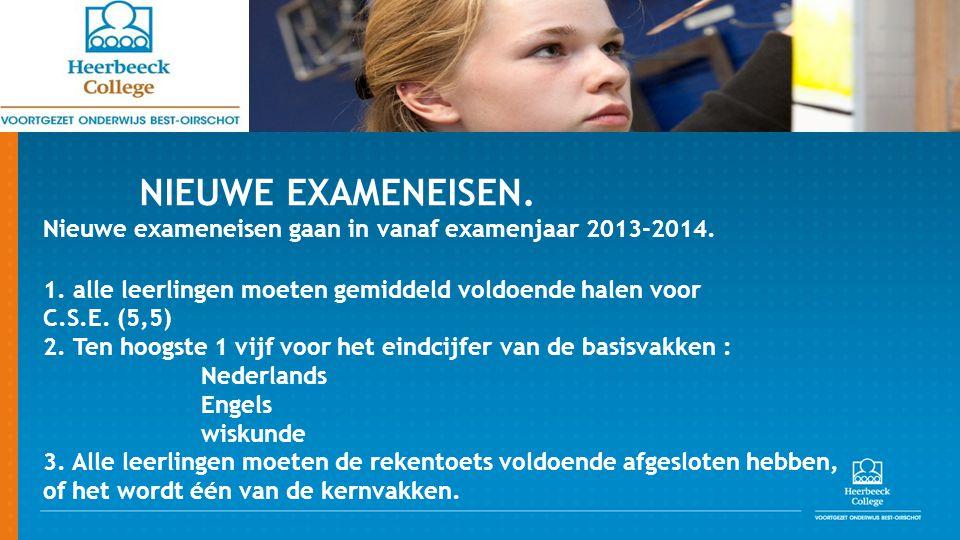 NIEUWE EXAMENEISEN.Nieuwe exameneisen gaan in vanaf examenjaar 2013-2014.