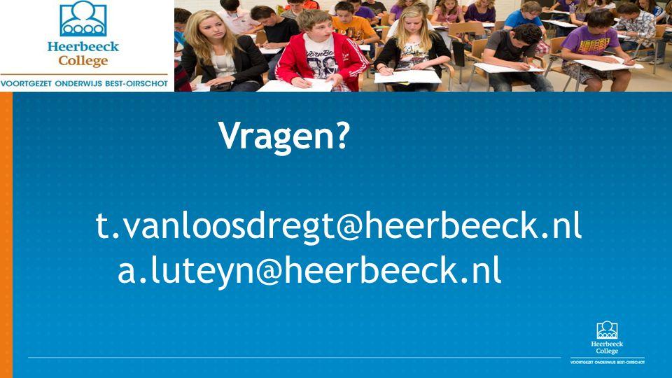 Vragen? t.vanloosdregt@heerbeeck.nl a.luteyn@heerbeeck.nl
