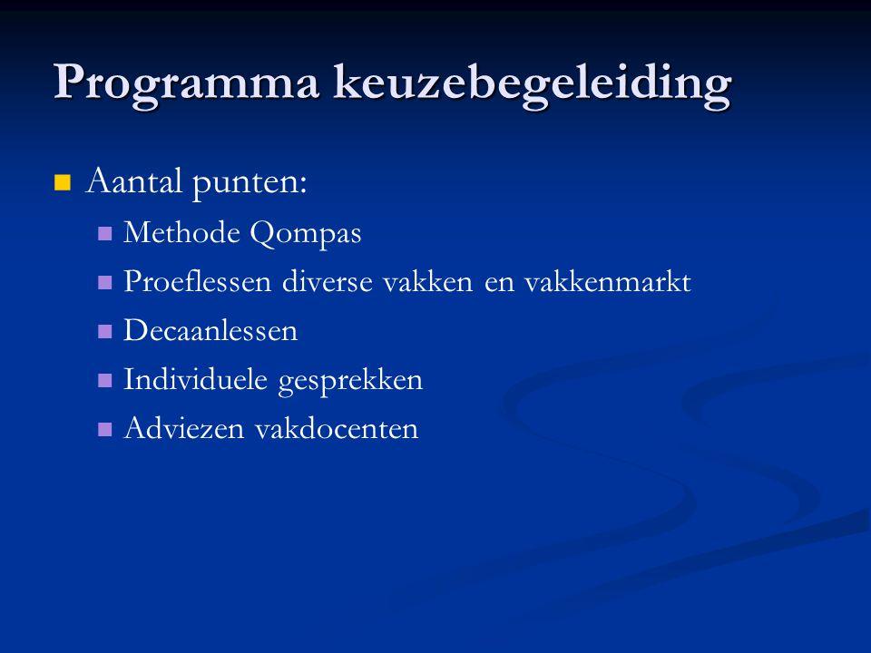 Programma keuzebegeleiding Aantal punten: Methode Qompas Proeflessen diverse vakken en vakkenmarkt Decaanlessen Individuele gesprekken Adviezen vakdocenten