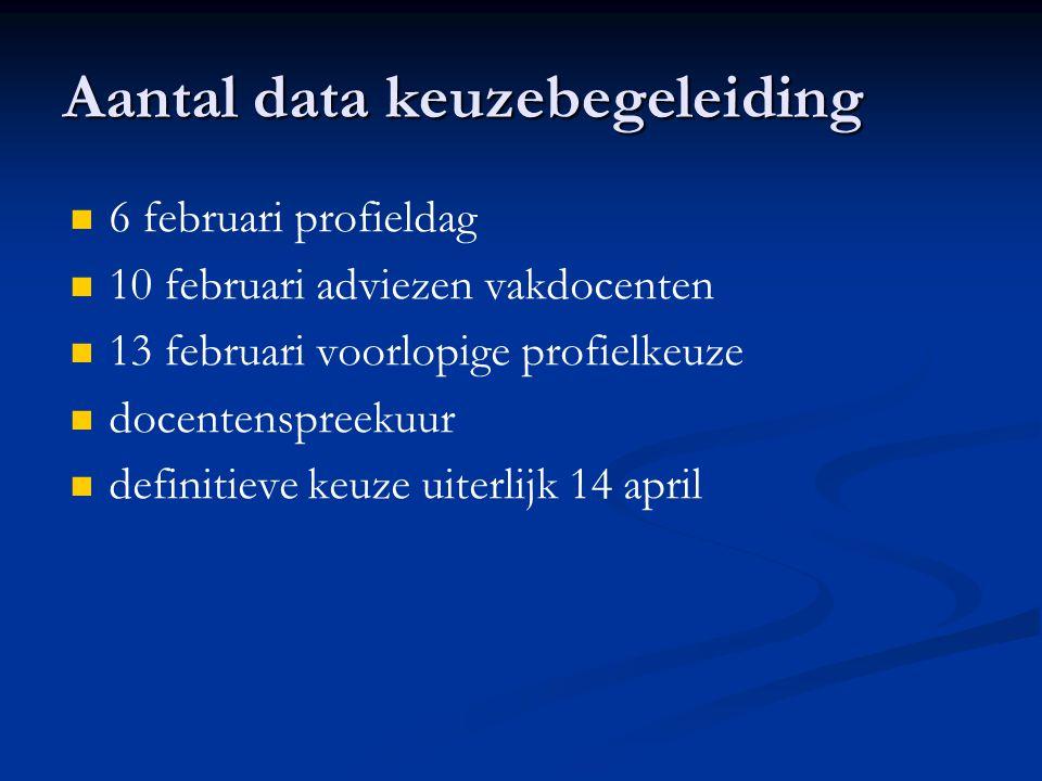 Aantal data keuzebegeleiding 6 februari profieldag 10 februari adviezen vakdocenten 13 februari voorlopige profielkeuze docentenspreekuur definitieve keuze uiterlijk 14 april