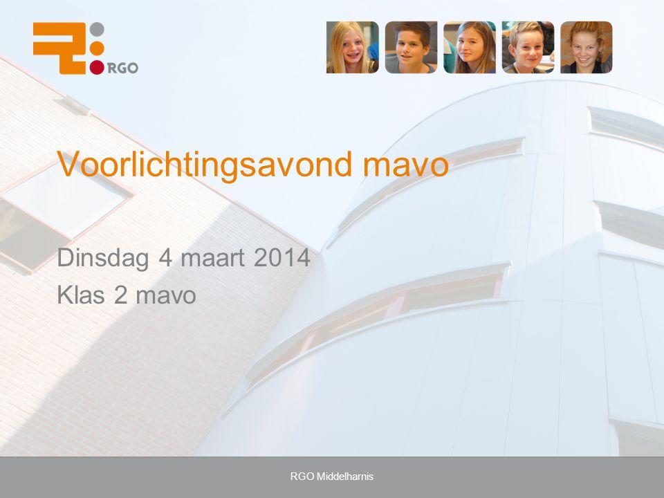 RGO Middelharnis Voorlichtingsavond mavo Dinsdag 4 maart 2014 Klas 2 mavo