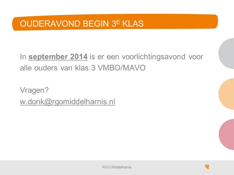 OUDERAVOND BEGIN 3 E KLAS In september 2014 is er een voorlichtingsavond voor alle ouders van klas 3 VMBO/MAVO Vragen.