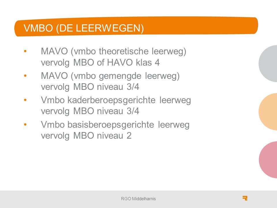 VMBO (DE LEERWEGEN) MAVO (vmbo theoretische leerweg) vervolg MBO of HAVO klas 4 MAVO (vmbo gemengde leerweg) vervolg MBO niveau 3/4 Vmbo kaderberoepsgerichte leerweg vervolg MBO niveau 3/4 Vmbo basisberoepsgerichte leerweg vervolg MBO niveau 2 RGO Middelharnis