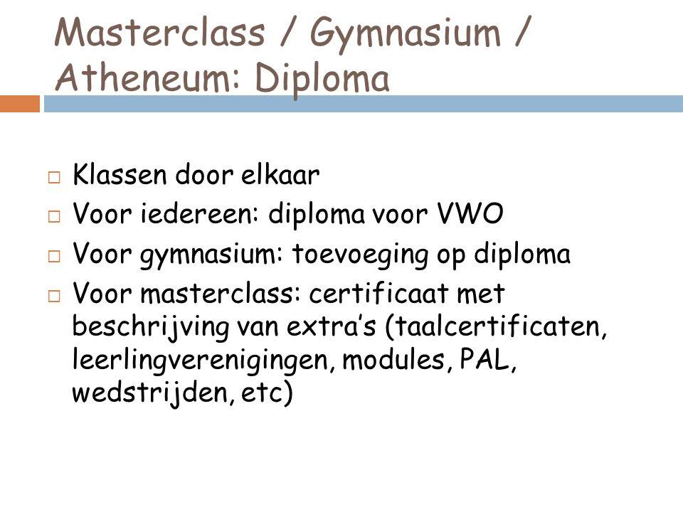 Masterclass / Gymnasium / Atheneum: Diploma  Klassen door elkaar  Voor iedereen: diploma voor VWO  Voor gymnasium: toevoeging op diploma  Voor masterclass: certificaat met beschrijving van extra's (taalcertificaten, leerlingverenigingen, modules, PAL, wedstrijden, etc)