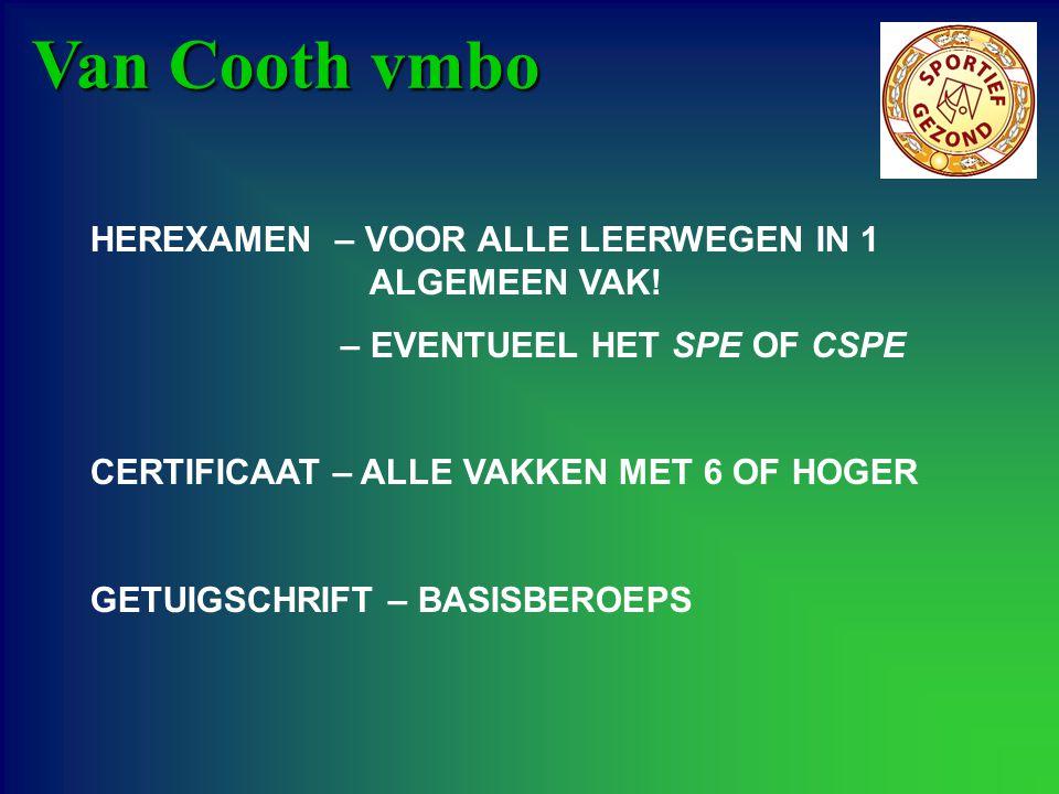 Van Cooth vmbo HEREXAMEN – VOOR ALLE LEERWEGEN IN 1 ALGEMEEN VAK! – EVENTUEEL HET SPE OF CSPE CERTIFICAAT – ALLE VAKKEN MET 6 OF HOGER GETUIGSCHRIFT –