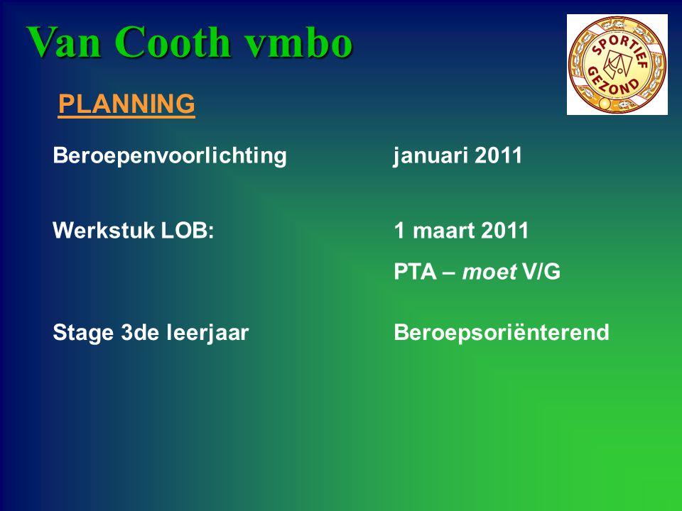 Van Cooth vmbo PLANNING Beroepenvoorlichting januari 2011 Stage 3de leerjaar Beroepsoriënterend Werkstuk LOB: 1 maart 2011 PTA – moet V/G