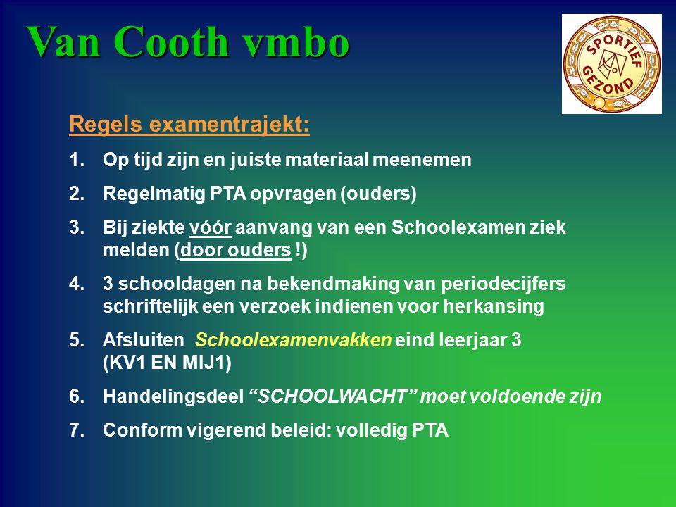 Van Cooth vmbo Regels examentrajekt: 1.Op tijd zijn en juiste materiaal meenemen 2.Regelmatig PTA opvragen (ouders) 3.Bij ziekte vóór aanvang van een