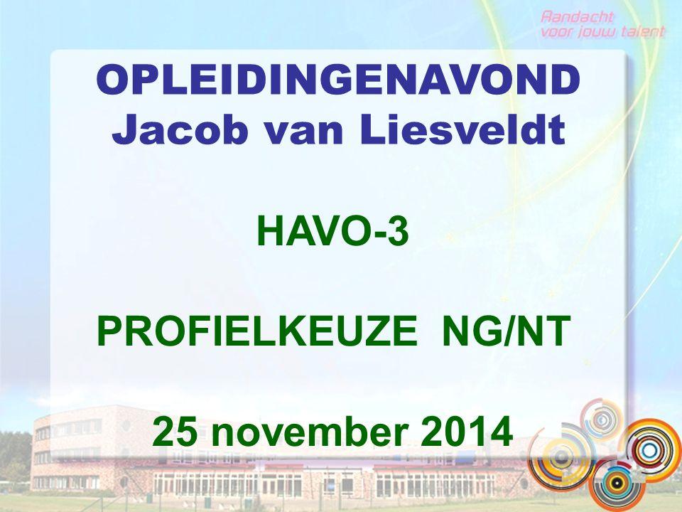 OPLEIDINGENAVOND Jacob van Liesveldt HAVO-3 PROFIELKEUZE NG/NT 25 november 2014
