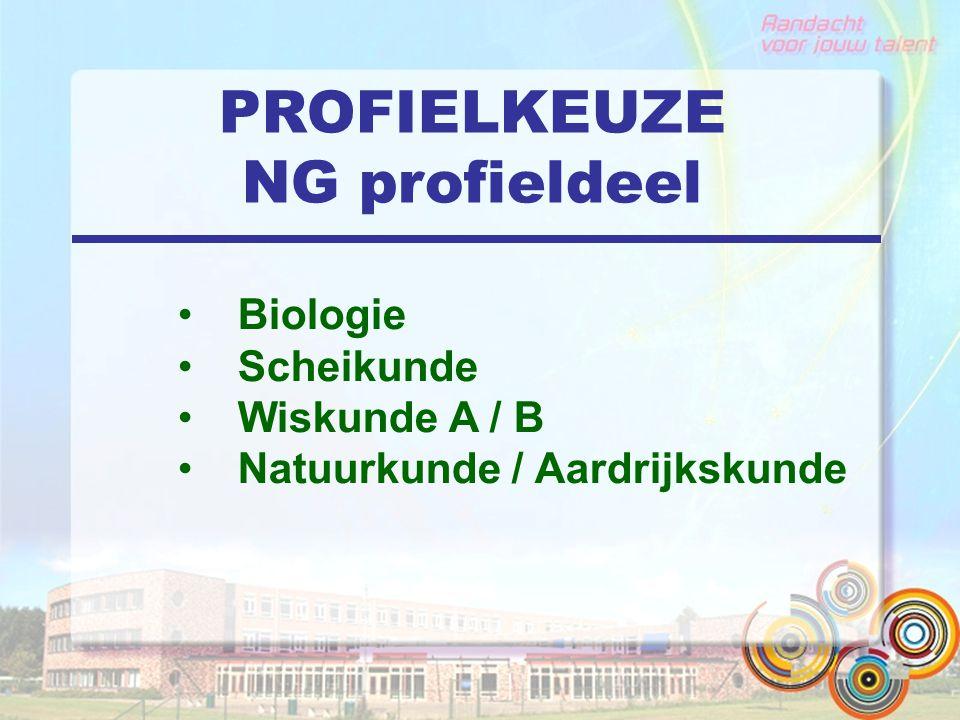 PROFIELKEUZE NG profieldeel Biologie Scheikunde Wiskunde A / B Natuurkunde / Aardrijkskunde