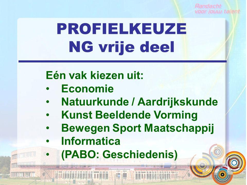PROFIELKEUZE NG vrije deel Eén vak kiezen uit: Economie Natuurkunde / Aardrijkskunde Kunst Beeldende Vorming Bewegen Sport Maatschappij Informatica (P