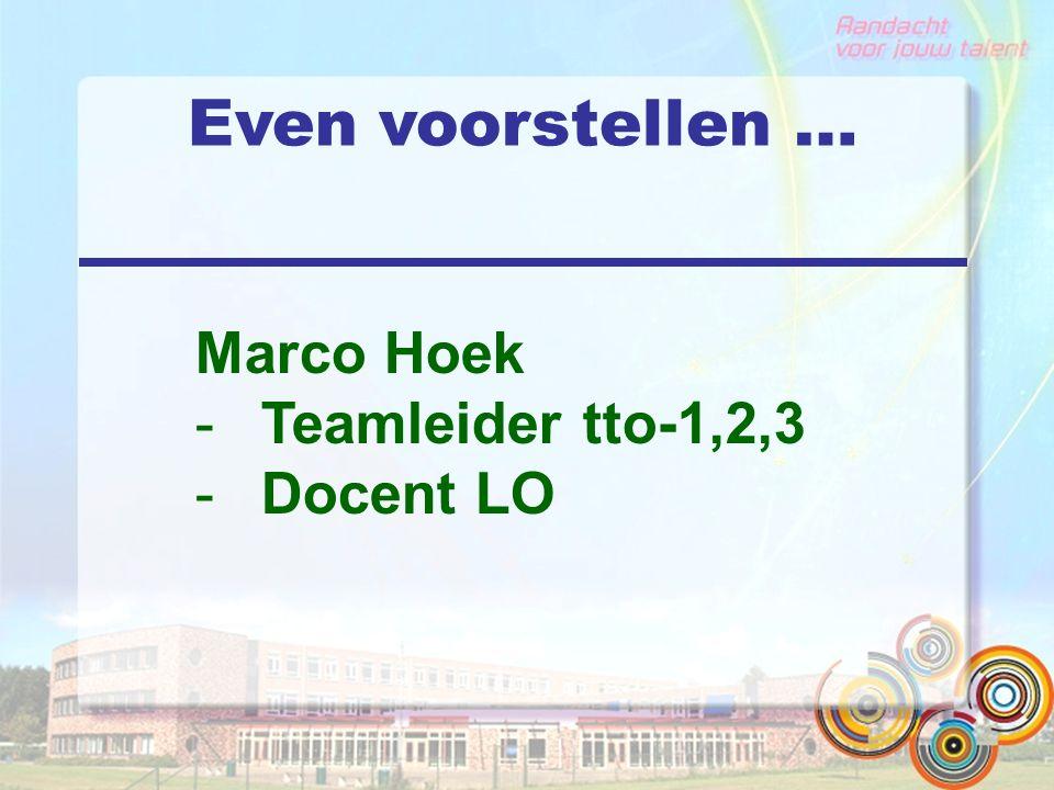 Even voorstellen … Marco Hoek -Teamleider tto-1,2,3 -Docent LO