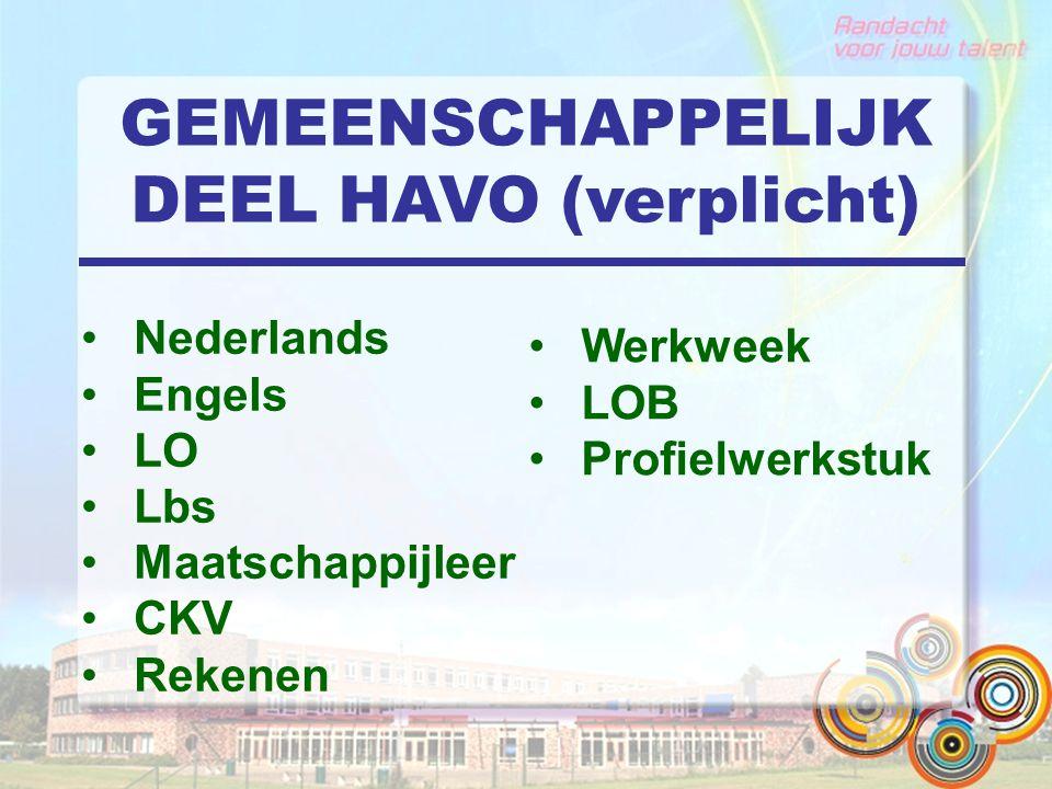 GEMEENSCHAPPELIJK DEEL HAVO (verplicht) Nederlands Engels LO Lbs Maatschappijleer CKV Rekenen Werkweek LOB Profielwerkstuk