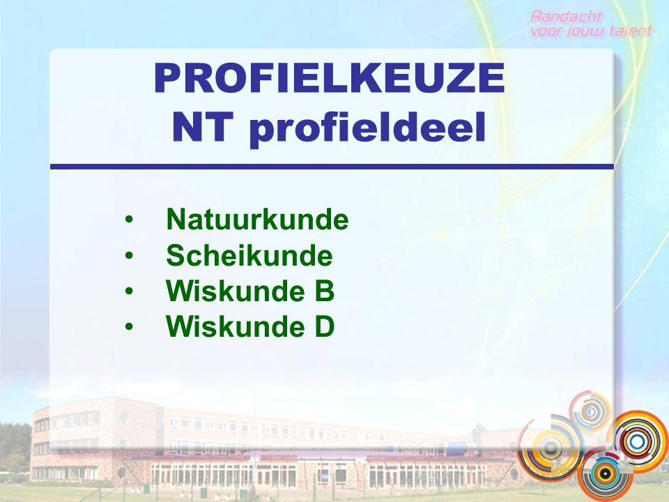 PROFIELKEUZE NT profieldeel Natuurkunde Scheikunde Wiskunde B Wiskunde D