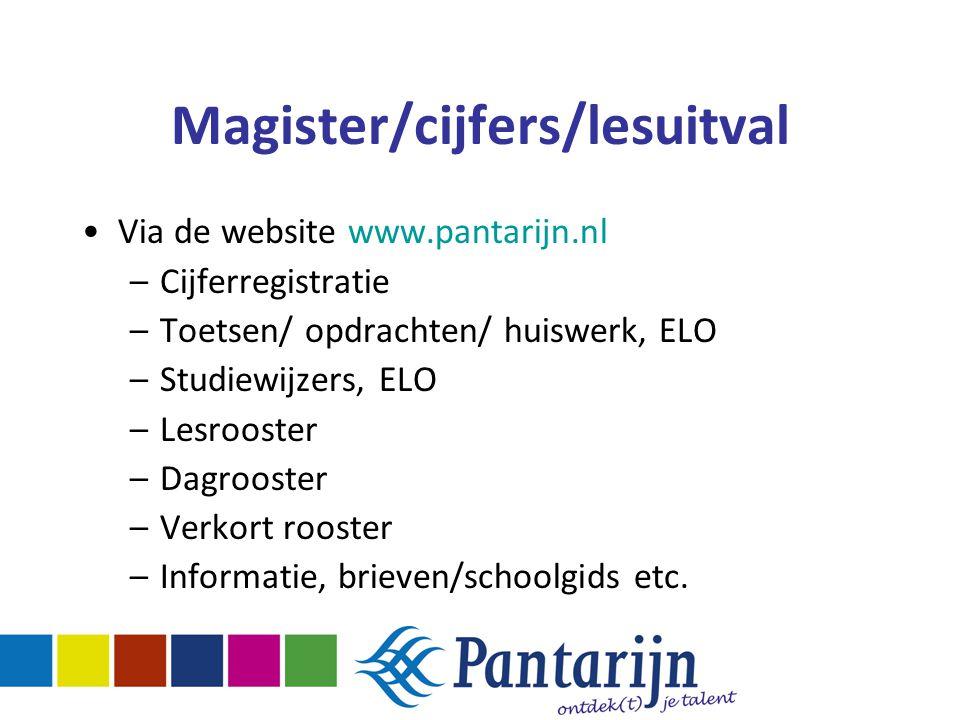 Magister/cijfers/lesuitval Via de website www.pantarijn.nl –Cijferregistratie –Toetsen/ opdrachten/ huiswerk, ELO –Studiewijzers, ELO –Lesrooster –Dag