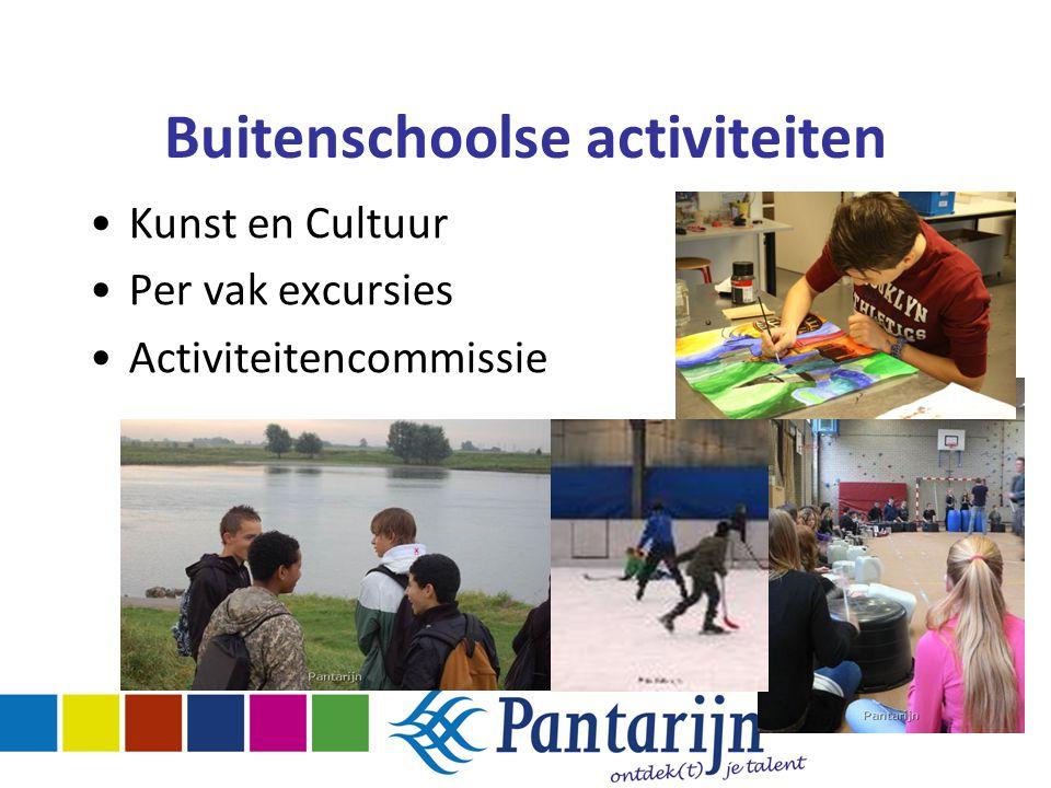 Buitenschoolse activiteiten Kunst en Cultuur Per vak excursies Activiteitencommissie