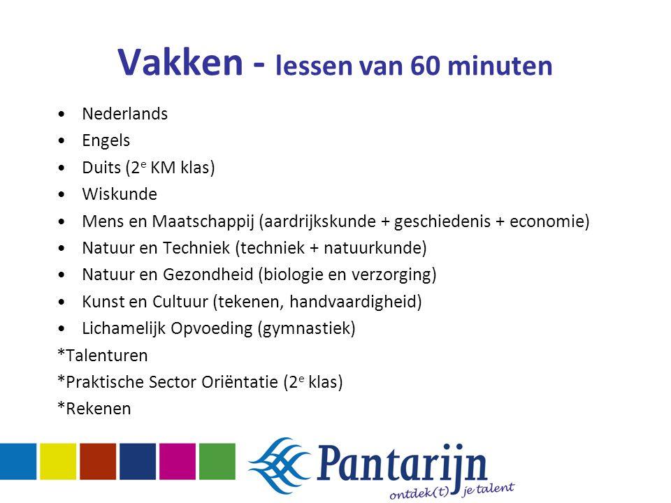 Vakken - lessen van 60 minuten Nederlands Engels Duits (2 e KM klas) Wiskunde Mens en Maatschappij (aardrijkskunde + geschiedenis + economie) Natuur e
