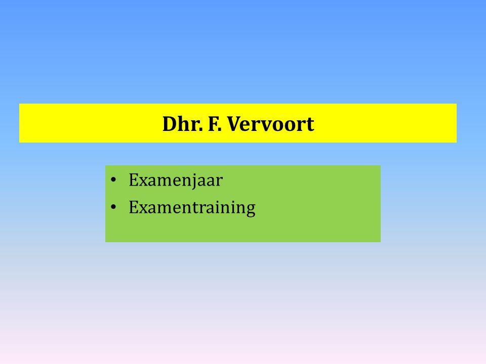 Dhr. F. Vervoort Examenjaar Examentraining