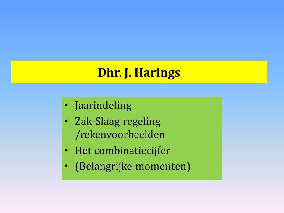 Dhr. J. Harings Jaarindeling Zak-Slaag regeling /rekenvoorbeelden Het combinatiecijfer (Belangrijke momenten)