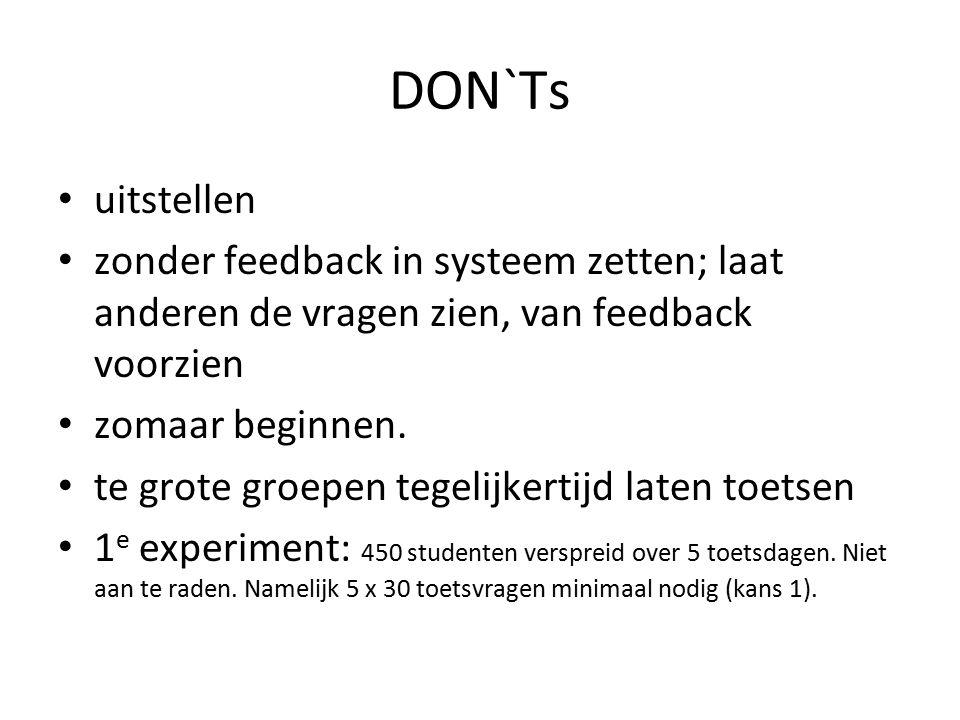 DON`Ts uitstellen zonder feedback in systeem zetten; laat anderen de vragen zien, van feedback voorzien zomaar beginnen. te grote groepen tegelijkerti