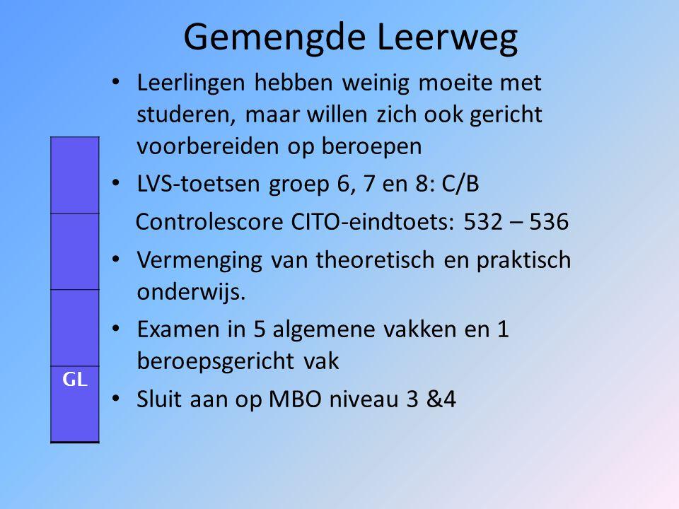 Theoretische leerweg/MAVO LVS-toetsen groep 6, 7 en 8: C/B Controlescore CITO-eindtoets: 532 – 536 Gericht op studie uit boeken Niet gericht op beroep