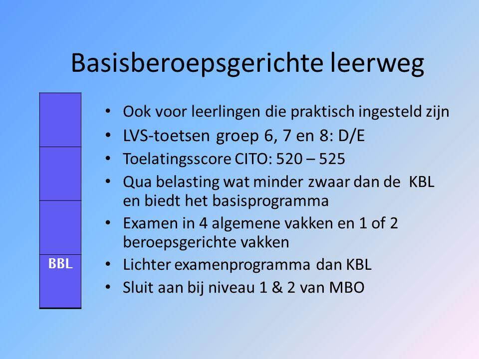 Kaderberoepsgerichte leerweg Lijkt op de vroegere VBO LVS-toetsen groep 6, 7 en 8: C/D Controlescore CITO-eindtoets: 526 – 531 Leerlingen doen kennis