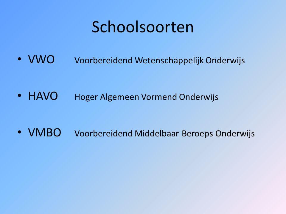 Schoolsoorten VWO Voorbereidend Wetenschappelijk Onderwijs HAVO Hoger Algemeen Vormend Onderwijs VMBO Voorbereidend Middelbaar Beroeps Onderwijs
