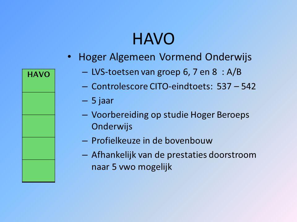 VWO Voorbereidend Wetenschappelijk Onderwijs – LVS-toetsen van groep 6, 7 en 8 : A/B (merendeels A) – Controlescore CITO-eindtoets: 543 of hoger – 6 j