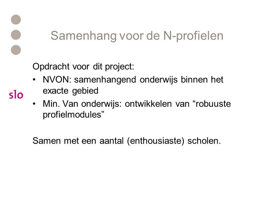 Samenhang voor de N-profielen Opdracht voor dit project: NVON: samenhangend onderwijs binnen het exacte gebied Min.
